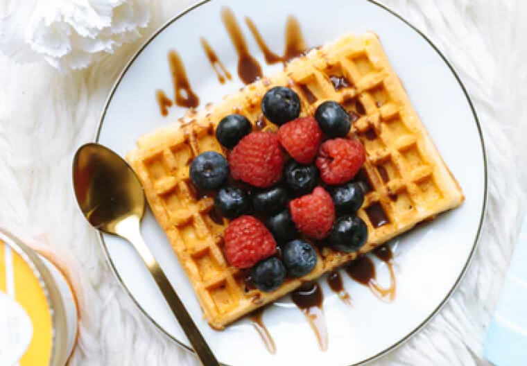 Belgian Waffles with Triple Berry Sauce